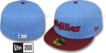 Phillies COOP 'PIN-SCRIPT' Sky-Burgundy Fitted Hat by New Era