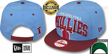 Phillies COOP SUPER-LOGO ARCH SNAPBACK Sky-Burgundy Hat by New Era