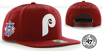 Phillies COOP 'SURE-SHOT SNAPBACK' Burgundy Hat by Twins 47 Brand