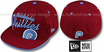 Phillies COOPERSTOWN BIG-SCRIPT Burgundy Fitted Hat by New Era