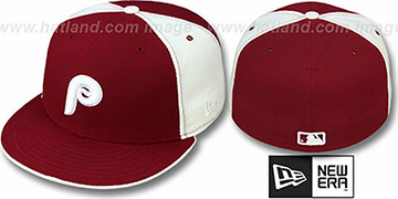 Phillies COOPERSTOWN Burgundy-White Fitted Hat by New Era