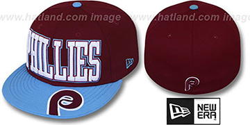 Phillies COOPERSTOWN EPIC WORD Burgundy-Sky Fitted Hat by New Era
