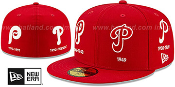 Phillies 'COOPERSTOWN EVOLUTION-2' Red Fitted Hat by New Era
