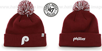 Phillies 'COOPERSTOWN POMPOM CUFF' Burgundy Knit Beanie Hat by Twins 47 Brand