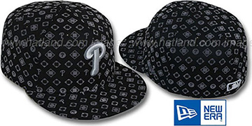 Phillies 'D-LUX ALL-OVER' Black-Grey Fitted Hat by New Era