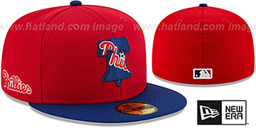 Phillies DASHMARK BP Red-Royal Fitted Hat by New Era