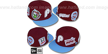 Phillies 'DEEZ PATCHES' Maroon-Sky Fitted Hat by New Era