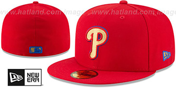 Phillies GOLD METALLIC STOPPER Red Fitted Hat by New Era