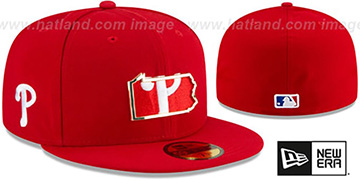 Phillies GOLD STATED INSIDER Red Fitted Hat by New Era
