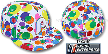 Phillies 'GUMBALL' White-Multi Fitted Hat by Twins