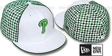 Phillies 'HOUNDSTOOTH' White-Green Fitted Hat by New Era