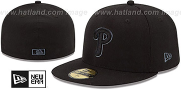Phillies 'MLB FADEOUT-BASIC' Black Fitted Hat by New Era