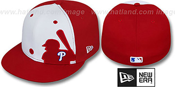 Phillies 'MLB SILHOUETTE' White-Red Fitted Hat by New Era