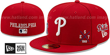 Phillies MULTI-AROUND Red Fitted Hat by New Era