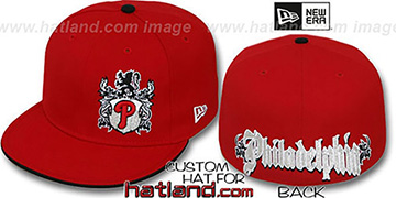 Phillies OLD ENGLISH SOUTHPAW Red-Black Fitted Hat by New Era