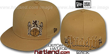 Phillies OLD ENGLISH SOUTHPAW Wheat-Brown Fitted Hat by New Era