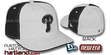 Phillies 'PINWHEEL' White-Black Fitted Hat by New Era