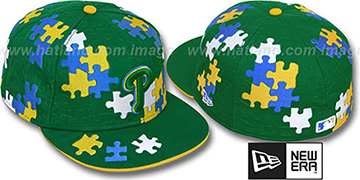 Phillies 'PUZZLE' Green Fitted Hat by New Era
