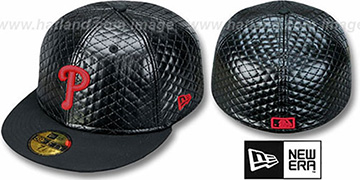 Phillies 'QUILTE' Black Fitted Hat by New Era