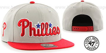 Phillies 'SCRIPT-SIDE SNAPBACK' Grey-Red Hat by Twins 47 Brand