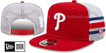 Phillies 'SIDE-STRIPE TRUCKER SNAPBACK' Red Hat by New Era