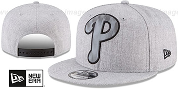 Phillies SILKED-XL SNAPBACK Heather Light Grey Hat by New Era