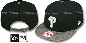 Phillies 'SNAKE-THRU STRAPBACK' Black-Grey Adjustable Hat by New Era