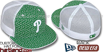 Phillies 'ST PATS FLOCKING MESH-BACK' Kelly-White Fitted Hat by New Era