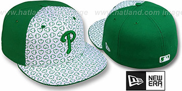 Phillies ST PATS FLOCKING PINWHEEL White-Kelly Fitted Hat by New Era