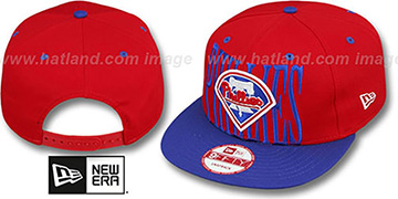 Phillies STEP-ABOVE SNAPBACK Red-Royal Hat by New Era