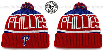 Phillies THE-CALGARY Red-Royal Knit Beanie Hat by Twins 47 Brand
