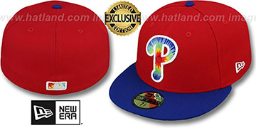 Phillies 'TYE-DYE INSIDER' Red-Royal Fitted Hat by New Era