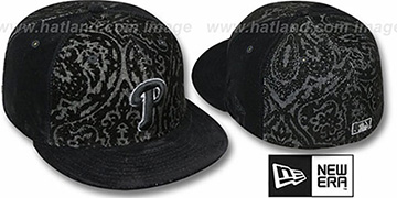 Phillies 'VELVET PAISLEY' Black Fitted Hat by New Era