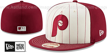 Phillies 'VINTAGE-STRIPE' White-Burgundy Fitted Hat by New Era