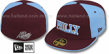 Philly 'PINWHEEL-CITY' Burgundy-Sky-Burgundy Fitted Hat by New Era