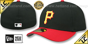 Pirates '2007-08 LOW-CROWN VINTAGE' Black-Red Fitted Hat by New Era