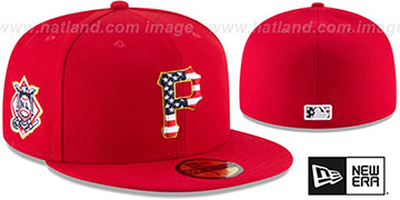 Pirates '2018 JULY 4TH STARS N STRIPES' Red Fitted Hat by New Era
