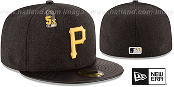 Pirates 5X 'HEATHER-PIN' Black Fitted Hat by New Era