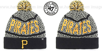 Pirates 'BEDROCK' Black-Grey Knit Beanie Hat by Twins 47 Brand