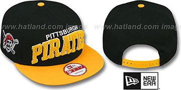 Pirates 'CHENILLE-ARCH SNAPBACK' Black-Gold Hat by New Era