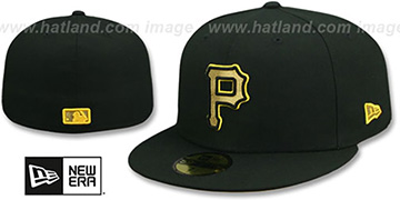 Pirates GOLD METALLIC STOPPER Black Fitted Hat by New Era