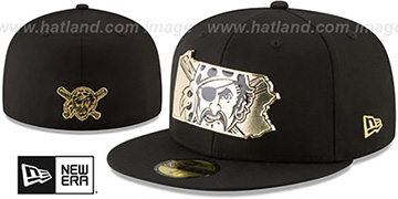 Pirates GOLD STATED METAL-BADGE Black Fitted Hat by New Era
