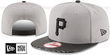 Pirates LEATHER-RIP SNAPBACK Grey-Black Hat by New Era