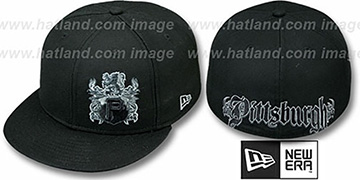 Pirates 'OLD ENGLISH SOUTHPAW' Black Fitted Hat by New Era