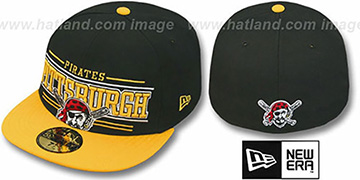 Pirates 'RETRO-SMOOTH' Black-Gold Fitted Hat by New Era