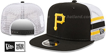 Pirates SIDE-STRIPE TRUCKER SNAPBACK Black Hat by New Era