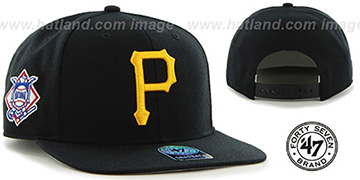 Pirates 'SURE-SHOT SNAPBACK' Black Hat by Twins 47 Brand