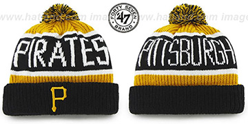 Pirates 'THE-CALGARY' Black-Gold Knit Beanie Hat by Twins 47 Brand