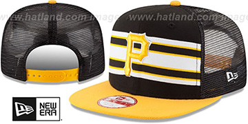 Pirates 'THROWBACK-STRIPE SNAPBACK' Black-Gold Hat by New Era