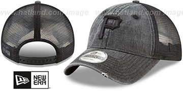 Pirates 'TONAL-WASHED TRUCKER SNAPBACK' Black Hat by New Era